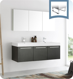 "Fresca FVN8093BW-D Vista 60"" Black Wall Hung Double Sink Modern Bathroom Vanity with Medicine Cabinet"