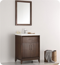 "Fresca FVN2124AC Cambridge 24"" Antique Coffee Traditional Bathroom Vanity with Mirror"