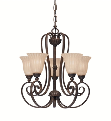 Kichler 1825TZ Willowmore Collection Mini Chandelier 5 Light in Tannery Bronze