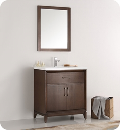 "Fresca FVN2130AC Cambridge 30"" Antique Coffee Traditional Bathroom Vanity with Mirror"