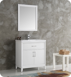"Fresca FVN2130WH Cambridge 30"" White Traditional Bathroom Vanity with Mirror"