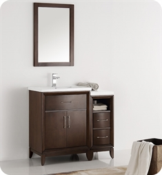 "Fresca FVN21-2412AC Cambridge 36"" Antique Coffee Traditional Bathroom Vanity with Mirror"
