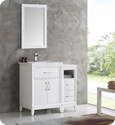 "Fresca FVN21-2412WH Cambridge 36"" White Traditional Bathroom Vanity with Mirror"