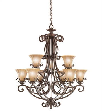 Kichler Cottage Grove Collection  Chandelier 9 Light in Carre Bronze