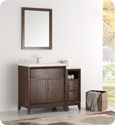 "Fresca FVN21-3012AC Cambridge 42"" Antique Coffee Traditional Bathroom Vanity with Mirror"