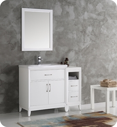 "Fresca FVN21-3012WH Cambridge 42"" White Traditional Bathroom Vanity with Mirror"