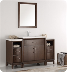 "Fresca FVN21-123012AC Cambridge 54"" Antique Coffee Traditional Bathroom Vanity with Mirror"