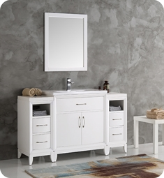 "Fresca FVN21-123012WH Cambridge 54"" White Traditional Bathroom Vanity with Mirror"