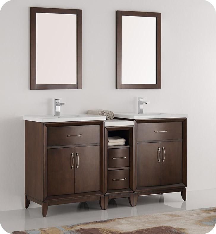 New Fresca FVN21 241224AC Cambridge 60  Antique Coffee Double Sink  Traditional Bathroom Vanity with Mirrors. Antique Bathroom Vanities   Bathroom Vanities For Sale