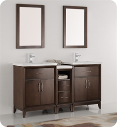 "Fresca FVN21-241224AC Cambridge 60"" Antique Coffee Double Sink Traditional Bathroom Vanity with Mirrors"