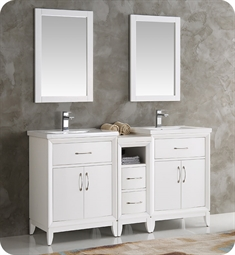 "Fresca FVN21-241224WH Cambridge 60"" White Double Sink Traditional Bathroom Vanity with Mirror"