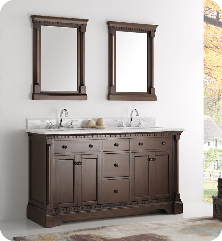 "Fresca FVN2260AC Kingston 61"" Antique Coffee Double Sink Traditional Bathroom Vanity With Mirrors"