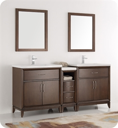 "Fresca FVN21-301230AC Cambridge 72"" Antique Coffee Double Sink Traditional Bathroom Vanity with Mirror"