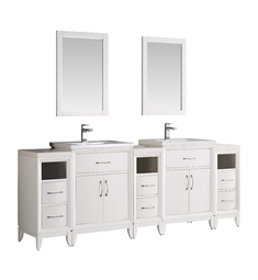 "Fresca FVN21-84WH Cambridge 84"" White Double Sink Traditional Bathroom Vanity with Mirror"