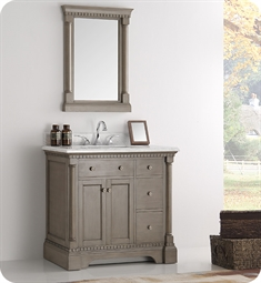 "Fresca FVN2236SA Kingston 37"" Antique Silver Traditional Bathroom Vanity with Mirror"