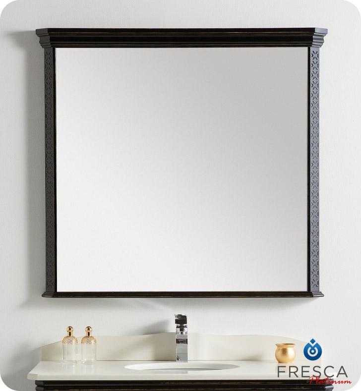 ... London 39u0026quot; Bathroom Mirror in Antique Black w/ Fog-Free System