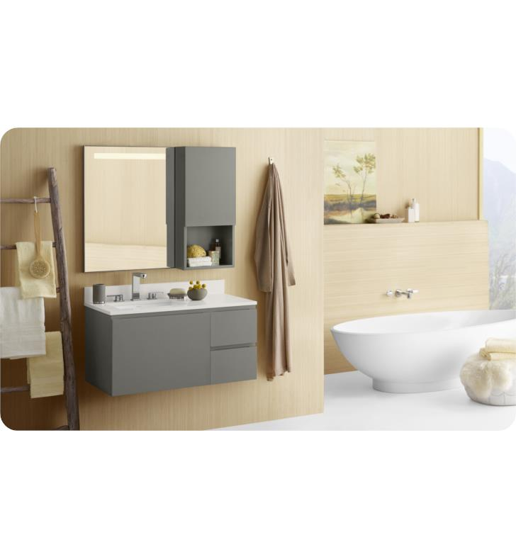 Ronbow 017823 632512 L E12 Ariella 35 5 Wall Mount Bathroom Vanity Set In Slate Gray W Left