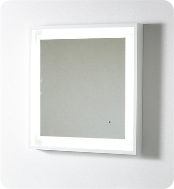 "Fresca Platinum FPMR7562WH Wave 24"" Bathroom Mirror with LED Lighting and Fog Free System in White Gloss"