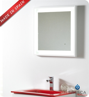 "Fresca Platinum Napoli 24"" Bathroom Mirror with LED Lighting and Fog Free System in White Gloss"