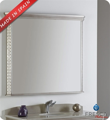 "Fresca Platinum FPMR7526SA London 40"" Bathroom Mirror in Antique Silver w/ Fog-Free System"