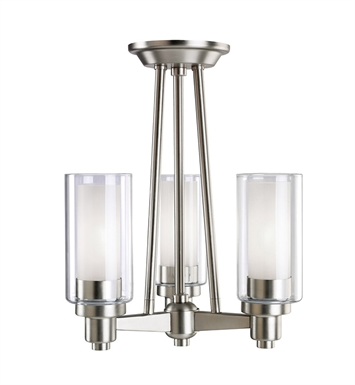 Kichler 3743NI Circolo Collection Semi Flush Chandelier 3 Light in Brushed Nickel