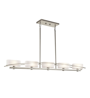 Kichler 42018NI Suspension Collection Chandelier Linear 5 Light Halogen With Finish: Brushed Nickel