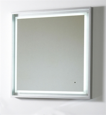 "Fresca Platinum FPMR7564SL Napoli 32"" Bathroom Mirror with LED Lighting and Fog Free System in Silver Gloss"