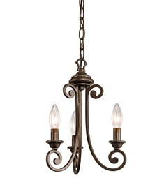 Kichler Semi Flush Chandelier 3 Light in Terrene Bronze