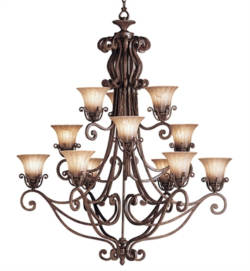 Kichler 1857CZ Cottage Grove Collection Chandelier 12 Light in Carre Bronze