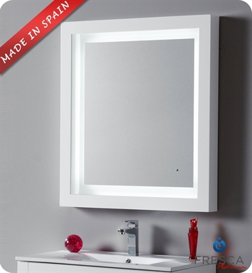 "Fresca Platinum FPMR7534WH Due 32"" Bathroom Mirror with LED Lighting and Fog Free System in White Gloss"