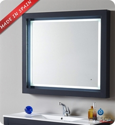 "Fresca Platinum Due 39"" Bathroom Mirror with LED Lighting and Fog Free System in Cobalt Gloss"