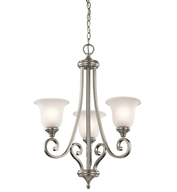 Kichler 43155NI Monroe Collection Chandelier 3 Light in Brushed Nickel