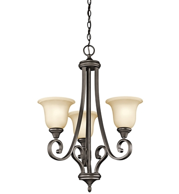 Kichler 43155OZ Monroe Collection Chandelier 3 Light in Olde Bronze