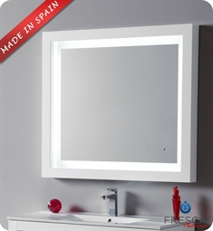 "Fresca Platinum Due 39"" Bathroom Mirror with LED Lighting and Fog Free System in White Gloss"