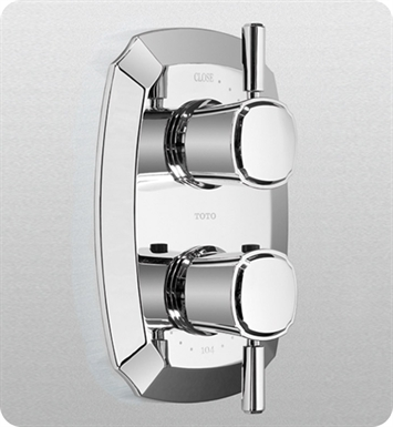 TOTO TS970C1#CP Guinevere® Thermostatic Mixing Valve with One-Way Volume Control and Lever Handles With Finish: Polished Chrome