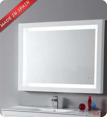 "Fresca Platinum FPMR7538WH Due 47"" Bathroom Mirror with LED Lighting and Fog Free System in White Gloss"