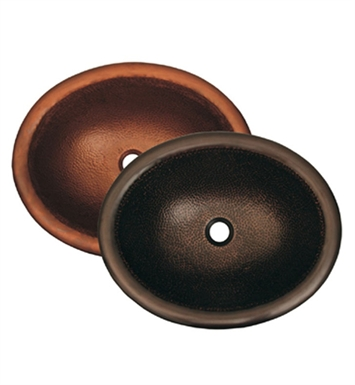 Whitehaus Oval Drop-in Undermount Basin with Hammered Copper Finish Copperhaus Series