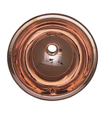 Whitehaus Round Drop-in Basin with Overflow and Polished Copper Finish