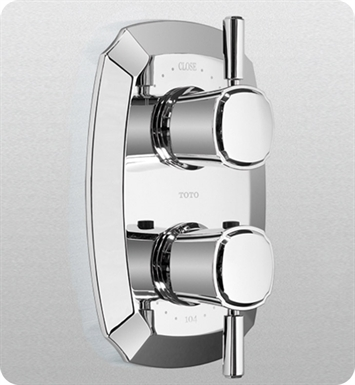 TOTO TS970D1#CP Guinevere® Thermostatic Mixing Valve with Two-Way Volume Control Trim and Lever Handles With Finish: Polished Chrome