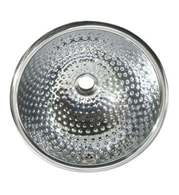Whitehaus Round Ball Pein Hammered Textured Drop-in Basin with Overflow and Polished Stainless Steel Finish