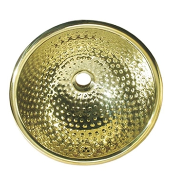 Whitehaus WH602BBM Round Ball Pein Hammered Textured Drop-in Basin with Overflow and Polished Brass Finish