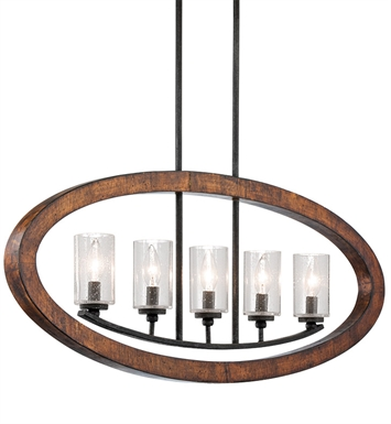Kichler 43186AUB Grand Bank Collection Chandelier Linear 5 Light in Auburn Stained Finish
