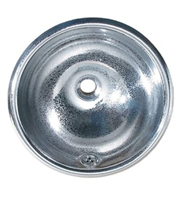 Whitehaus WH602ABC Round Crackle Textured Drop-in Basin with Overflow and Polished Stainless Steel Finish
