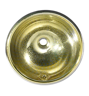 Whitehaus Round Crackle Textured Drop-in Basin with Overflow and Polished Brass Finish