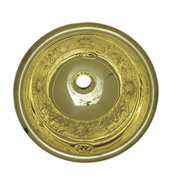 Whitehaus WH602BCF Round Floral Pattern Drop-in Basin with Overflow and Polished Brass Finish
