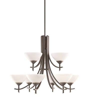 Kichler 1680OZW Olympia Collection Chandelier 9 Light in Olde Bronze