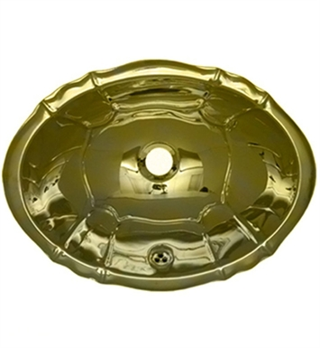 Whitehaus WH612BBL Oval Fluted Design Drop-in Basin with Overflow and Polished Brass Finish