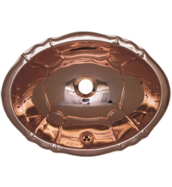 Whitehaus Oval Fluted Design Drop-in Basin with Overflow and Polished Copper Finish