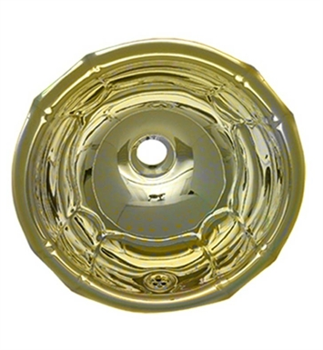 Whitehaus WH613BBL Round Fluted Design Drop-in Basin with Overflow and Polished Brass Finish