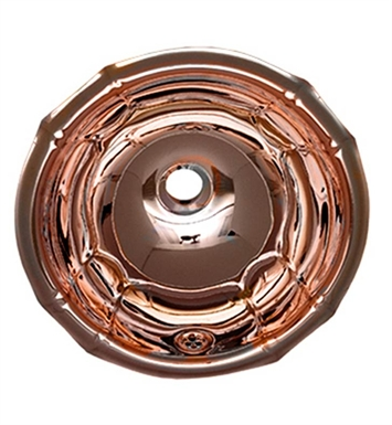 Whitehaus WH613CBL Round Fluted Design Drop-in Basin with Overflow and Polished Copper Finish
